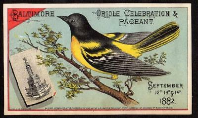 1882 Baltimore Oriole Celebration & Pageant*mechanical Trade Card*rj Baker & Co*