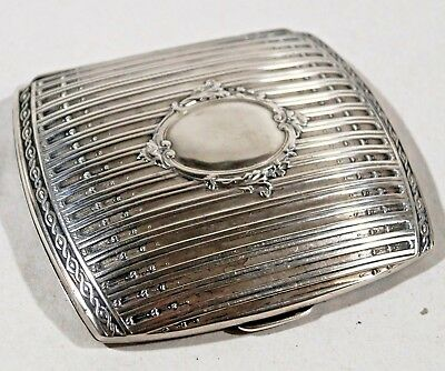 Beautiful Antique Sterling Silver Decorated Cigarette Case