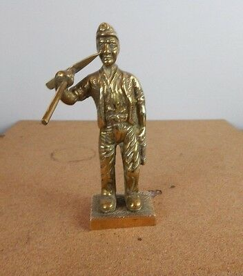 vintage Solid Brass Coal miner  Statue with pick axe 15cm figure2 tall.
