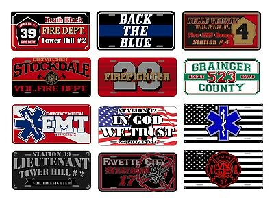 Custom Fire Department Licence Plate Made Custom For Your Department