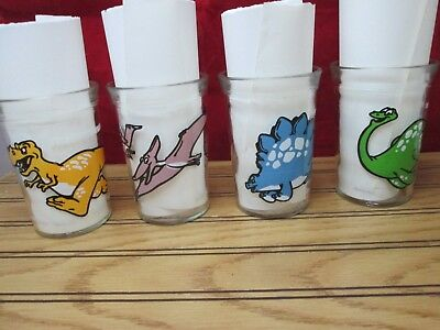 Vintage Welches Jelly Glasses Dinosaurs 1990 Set Of 4