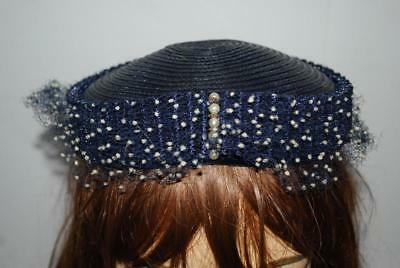 Vintage Navy Blue 1950s Hat Pearls Netting Dotted Veil Womens