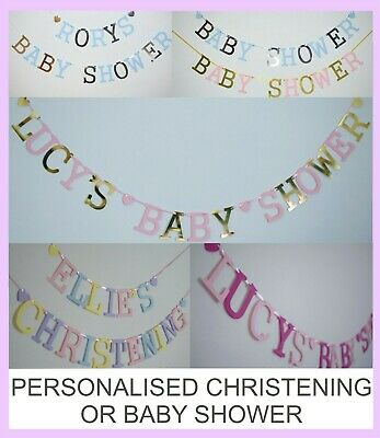 Personalised Bunting BANNER BABY SHOWER CHRISTENING BOY GIRL PINK BLUE GOLD