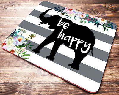 ELEPHANT Mouse Pad Be Happy Inspirational Quote Striped Mousepad Desk Decor
