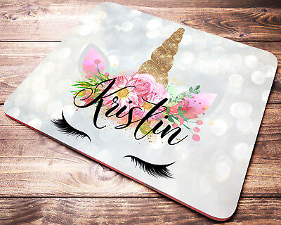 Personalized UNICORN Watercolor Floral Mouse Pad Desk Accessories Gift for Women
