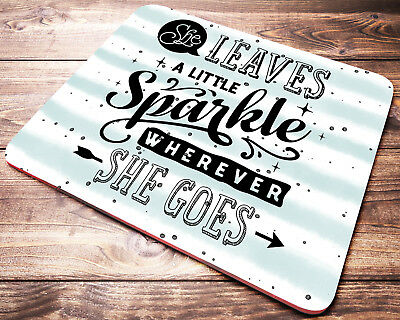 QUOTE Mouse Pad Mint Stripes Inspirational Quotes Desk Accessories Office Gift