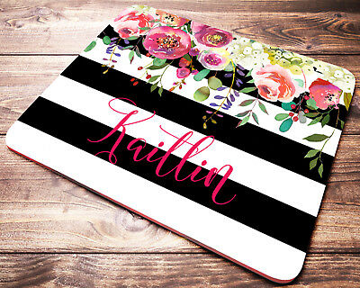 Floral Black and White Striped PERSONALIZED Mouse Pad Computer Desk Accessories