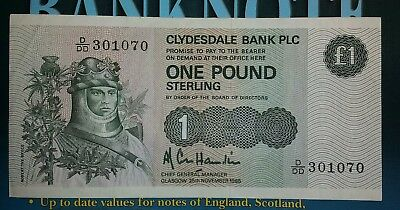 Clydesdale Bank Plc £1 One Pound Sterling 1985