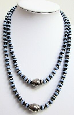 Good vintage 2 row silver metal & banded agate glass bead necklace
