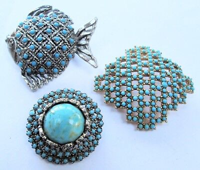 Two good vintage silver metal & turquoise glass brooches + 1