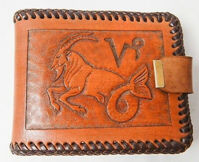 Vintage Handcrafted Leather Billfold Wallet Capricorn Zodiac Hand Tooled