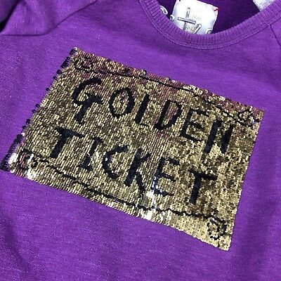 Golden Ticket Sequin Sweater Mini Boden Purple Gold Roald Dahl A26