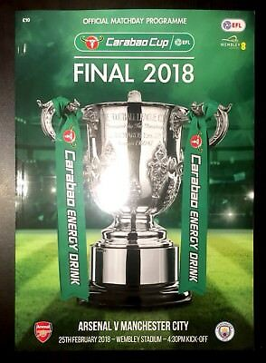 ARSENAL v MANCHESTER CITY CARABAO CUP FINAL PROGRAMME 25th February 2018
