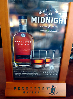 """Bar Sign, Tabletop PENDLETON WHISKEY """"Meet Me for Midnight""""   New in Box"""