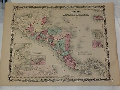 """1863 CENTRAL AMERICA hand colored by Johnson and Ward 14"""" x 18"""""""
