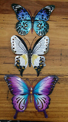 Butterfly Metal Wall Art Indoor Outdoor Patio Home Decor Colourful Butterflies