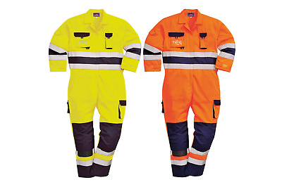 Portwest Texo Hi Vis Two Tone Coverall Overall Knee Pad Pockets Reflective TX55