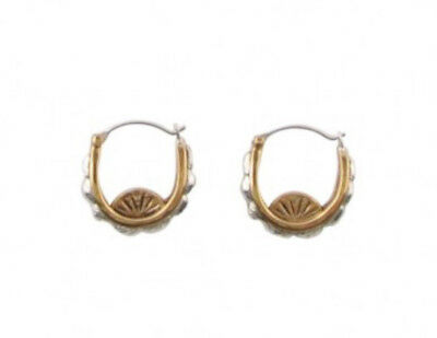 Barse Sterling Silver Bronze Two Tone Small Scalloped Hoop Earrings ERBDE01BS