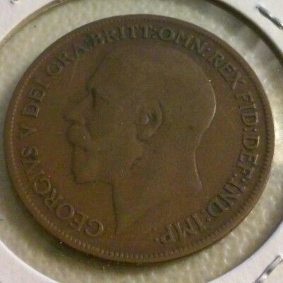 1918 KN Great Britain One Penny  Coin - Very Good Details  (#NOV069)