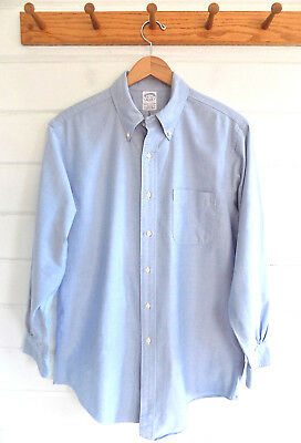 Vintage BROOKS BROTHERS Oxford Cloth Button Down Slim Fit Shirt Blue-Sz. 16.5-3