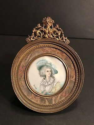 Antique Hand Painted Miniature Portrait Of A Lady In A French Bronze Frame