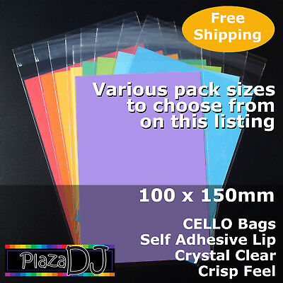 100x150mm CELLO Bags PP Cellophane Crystal Clear Adhesive Lip #PR100150