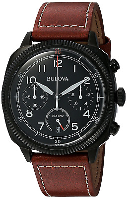 Bulova Military Men's UHF Watch with Black Dial Analogue Display and Brown Leath