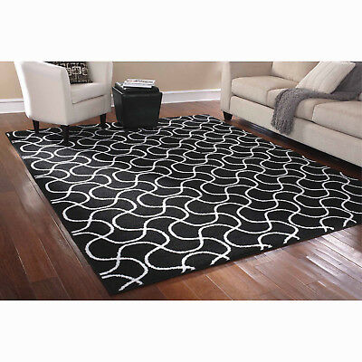 Contemporary black and white area rug stain resistant rectangular loop pile