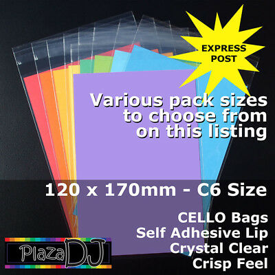 120x170mm CELLO Bags CELLOPHANE PP Crystal Clear C6 Size Adhesive Lip #PR120170X