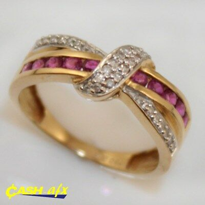18ct Two Toned Gold Ring with 0.30 Carats of Rubies and Diamonds Size K