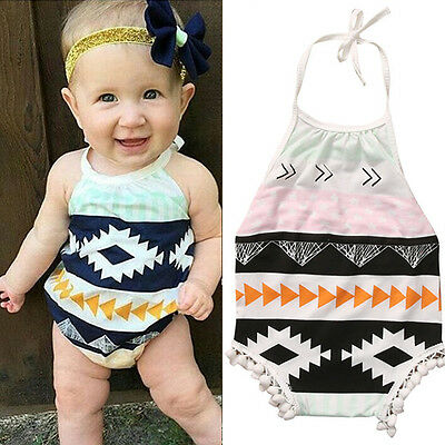 Newborn Baby Girls Clothes Floral Halter Bodysuit Romper Outfits Summer Sunsuits