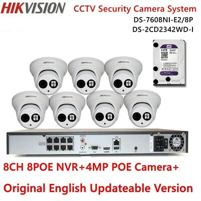 HIKVISION 8CH 8POE DS-7608NI-E2/8P NVR+4TB+4MP POE CCTV Security Camera System