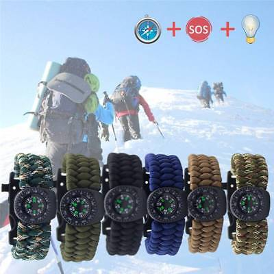 Paracord Survival Watch Bracelet With Compass Flint Fire Starter Thermometer Kit