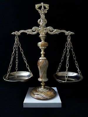 """Vintage 18"""" Brass Marble Caesar Stone Justice Balance Scale Gold Tone Glass Plts"""