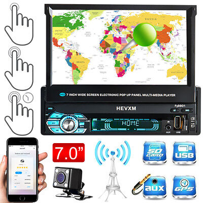 "7"" Car DVD MP5 Player 1 DIN Single Radio GPS Nav Stereo Bluetooth FM Camera +Map"