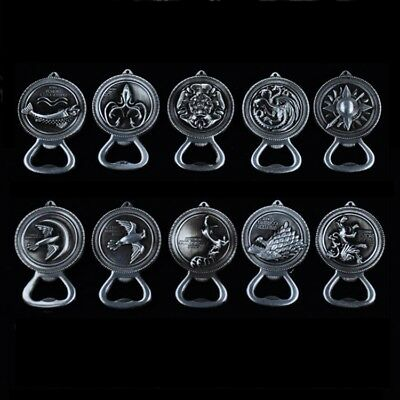 Game of Thrones Soda Bottle Opener Key Chain Ring House Family Totem Silver