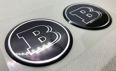2pcs x MERCEDES BENZ  BRABUS logo (Dia 50mm). Domed 3D Stickers/Decals.