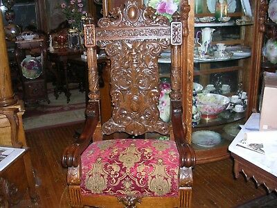 rj horner antique quartersawn oak throne chair fierce griffins, detailed carving