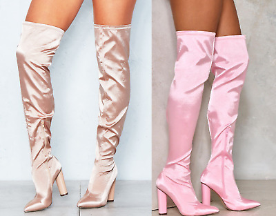 6ae51202415 Womens Ladies Satin Thigh High Over The Knee Boots Block Heel Shoes Pull Up  UK