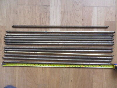 "13 antique brass stair rods finial end old stair carpet rods 12 =27"" / 1 = 24"" 1"