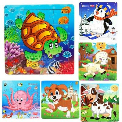 UK WOODEN ANIMAL JIGSAW PUZZLE Childrens Toddlers Educational Learning Toy