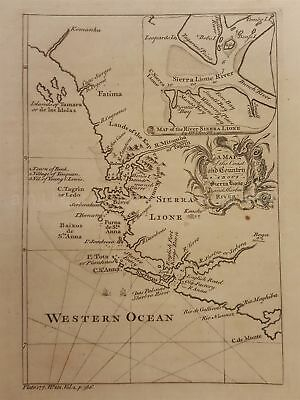 1700s antique MAP SIERRA LIONE coast country sherbro river africa