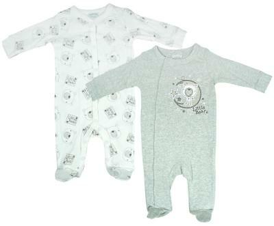 Boys Baby PACK OF 2 Bear Moon Stars Sleepsuit Cotton Rompers Newborn to 9 Months
