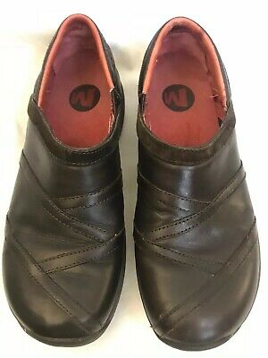 MERRELL Primo Patch Brown LEATHER SLIP ON MOCCASIN LOAFERS WOMEN'S SHOE Size 9B