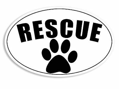 MAGNET OVAL White Rescue Paw Magnetic Sticker (dog cat shelter)