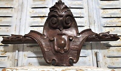 HAND CARVED WOOD PEDIMENT ANTIQUE FRENCH GOTHIC CROWN ARCHITECTURAL SALVAGE 19th