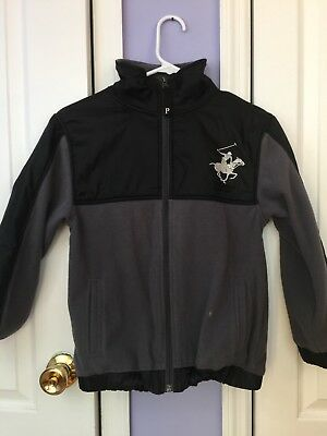 Kids Boys Beverly Hills Polo Club Gray and Black Full Zip Up Jacket Coat Soft