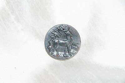 1 Antique Vintage French Metal Picture Button Deer Standing Hunt Hunting Livery