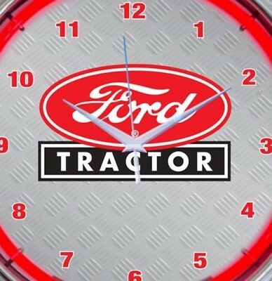 Ford Tractor Neon Clock 15 Inch Diameter Red Black White Agriculture Equipment