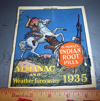 Vintage 1935 Dr Morses Indian Root Pills Almanac & weather, awesome graphics!